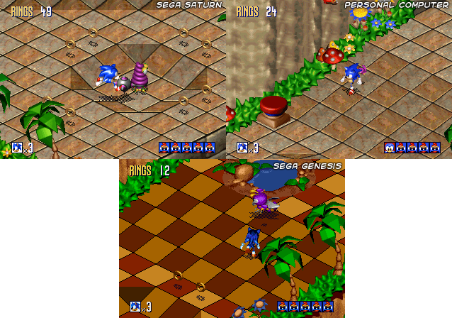Sonic 3D Blast Version Comparison. Click to Enlarge.