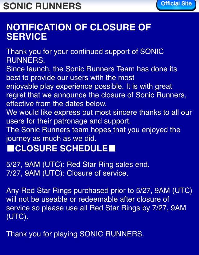 RunnersClosesDown